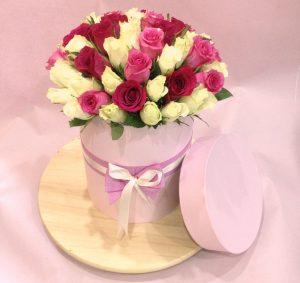 41 роза Кения в шляпной коробке